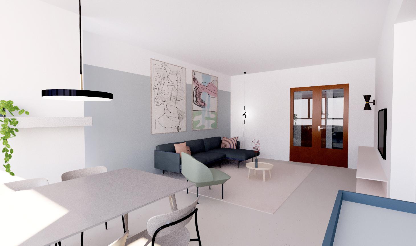 faktordertig - architectuur - interieur - totaalrenovatie - appartement - jaren '60 - Antwerpen - Amerikalei - interieurarchitectuur - kleuren - hout - licht - ruimtelijkheid - 3D visualisatie - kwaliteit