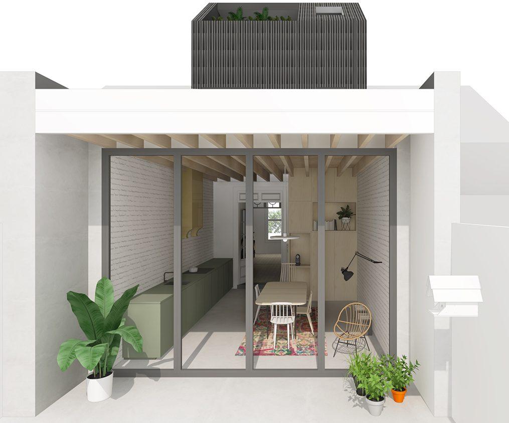 faktordertig - architectuur - interieur - nieuwe achterbouw hout - groot raam